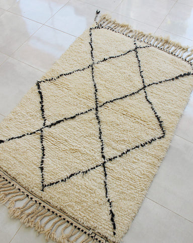 Genuine Moroccan Hand-Knotted Rug, Cream with Black Geometric Diamond Patterns. 39 x 57 inch