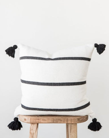 Cotton Pom Pom Pillow Cover with Tassels -White with Black Stripes