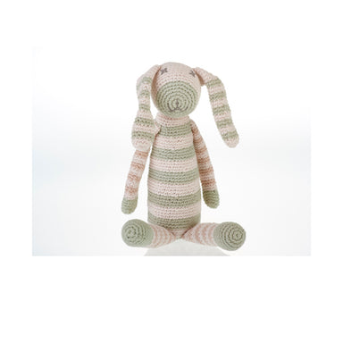 Organic Stripey Bunny - Teal Handmade with Natural Materials
