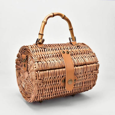 Small round Crossbody Bags rattan straw retro simple handbag shoulder bag