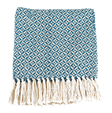 Agean Blue Pinwheel Two Tone Cotton Throw