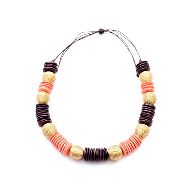 Paparazzi Wooden Necklace - Coral and Burgundy | LIKHÂ