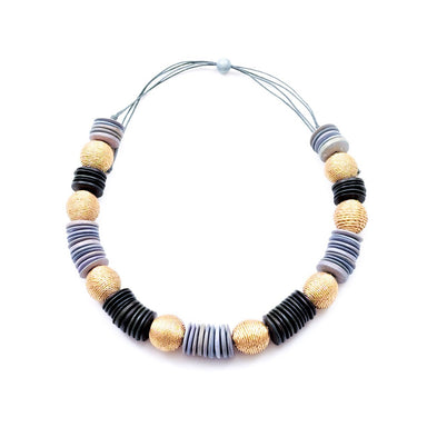 Chunky Wooden Necklace - Grey and Black | LIKHÂ