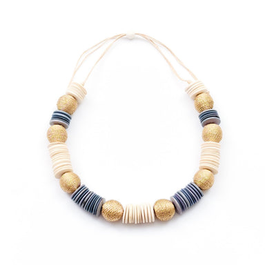 Wood Statement Necklace - White and Light Blue | LIKHÂ