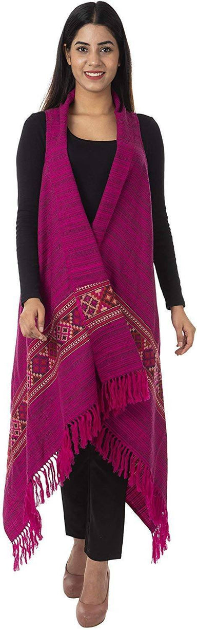 Women's Wool Cape (Fuschia Pink)