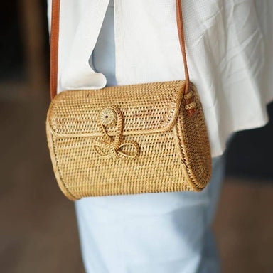 Mini rattan messenger bag leather shoulder bag retro summer travel envelope straw bag clutch bag