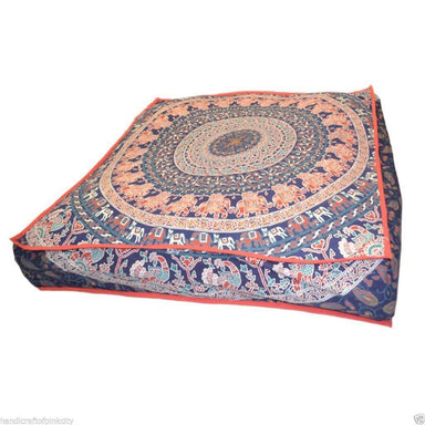 "35"" Inch Gypsy Mandala Square Tie-Dye Floor Pillow Cover Ottoman Cushion Cover"