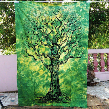 Twin Hippie Indian Tapestry Green Tree Throw Wall Hanging Gypsy Boho Bedspread Wall Decor