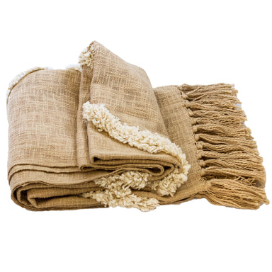 Champagne Gold Modern Tribal Tufted Cotton Throw