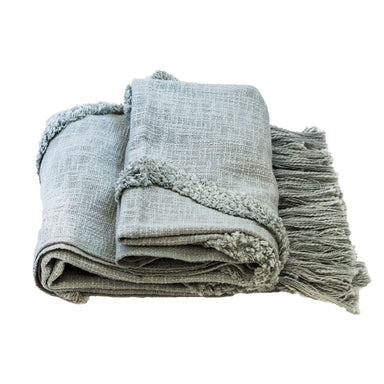 Seafoam Modern Tribal Tufted Cotton Throw