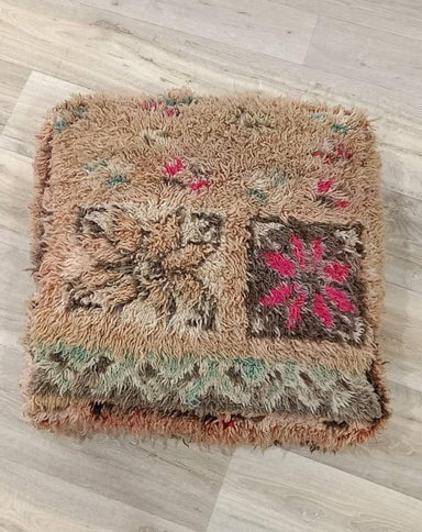 Vintage Moroccan floor Pillow Cushion, Handwoven from a Vintage Boujaad Rug
