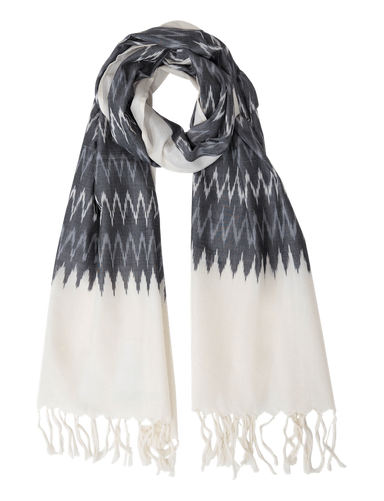 Winter Grey Ikat Scarf - Passion Lilie - Fair Trade - Ethically Made Cotton