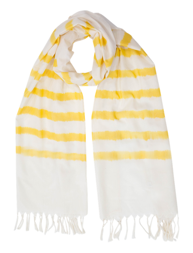 Yellow Striped Scarf - Passion Lilie - Fair Trade - Ethically Made Cotton