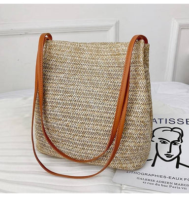 Hand-woven rattan straw bag large capacity summer beach bag