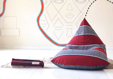 Afro Sand and Charcoal Handloom Bean Bag in Cotton - Default title - Bean Bags
