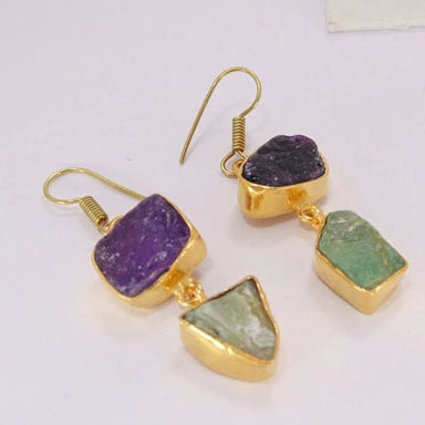 Amethyst And Fluorist Gemstone Dangle Earrings - Earrings