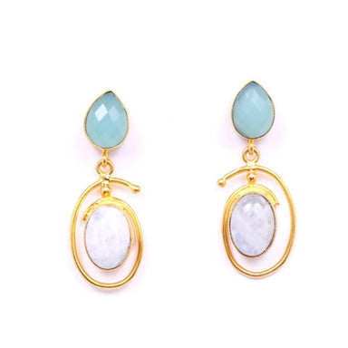Aqua Chalcedony And Rainbow Moonstone Gemstone Earrings - Earrings