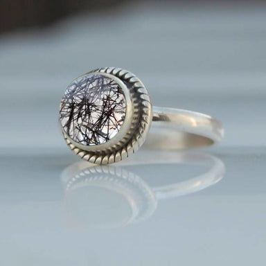 Black Tourmalated Quartz Silver Ring - Rings