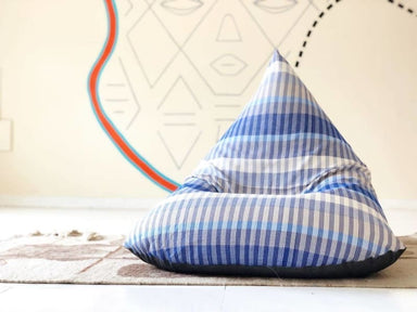 Blue and White Striped Beanbag in Cotton - Default title - Bean Bags
