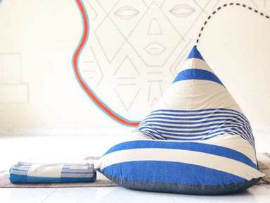 Blue and White Striped Beanbag in Pure Cotton - Default title - Bean Bags