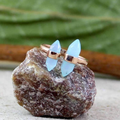Blue Chalcedony Silver Gemstone Ring - Rings