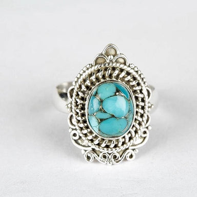 Blue Copper Turquoise Gemstone Ring - Rings