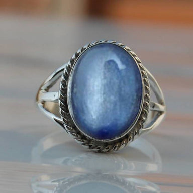 Blue Kyanite Stone Oval Silver Ring - Rings
