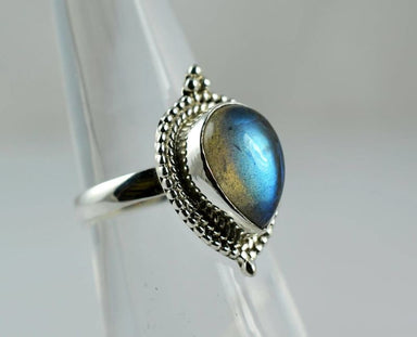Blue Pear Shaped Gemstone Ring in Sterling Silver - Rings