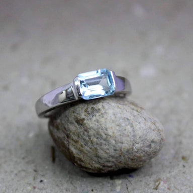 Blue Topaz Emerald Shaped Silver Ring - Rings
