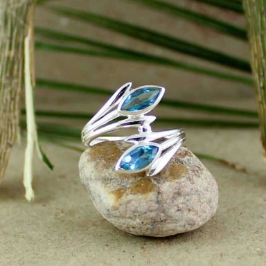 Blue Topaz Gemstone Ring with Marquise Cut ring - Rings