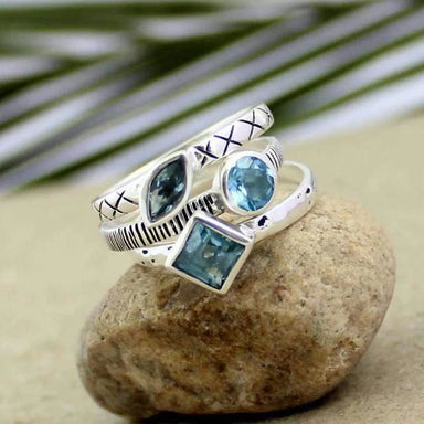 Blue Topaz Gemstone Stackable Silver Rings - Rings