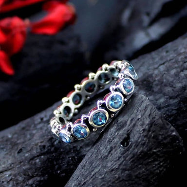 Blue Topaz Silver Ring with Small Band and Multiple Gemstones - Rings