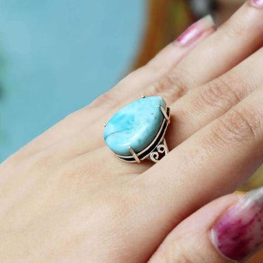 Bold Larimar Cabochon Cut Pear Shaped Silver Ring - Rings