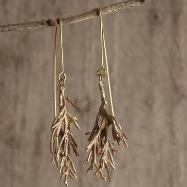 Branch Design Hanging Earrings in Brass - Necklaces