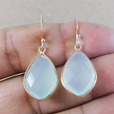 Chalcedony Gemstone Rose Gold Plated Earring in 925 Sterling Silver - Earrings