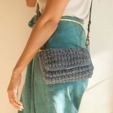 Crocheted Blue Handbag made of Recycled Garments - Handbags