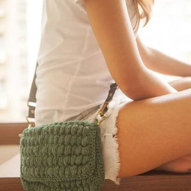 Crocheted Handbag made of Military Green Recycled Garments - Handbags