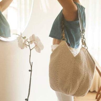 Crocheted Lotus Bag in Color Natural Ecru made of Recycled Garments - Shoulder Bags