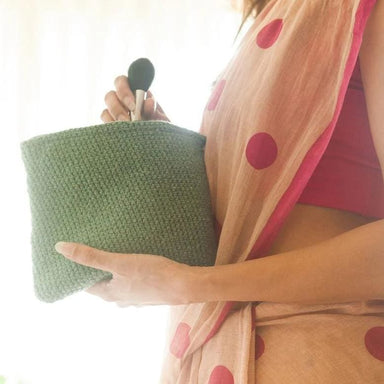 Crocheted Military Green Pouch made Recycled Garments - Pouches