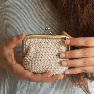 Crocheted Wallet Made of Recycled Garments in Natural Ecru Color - Wallets