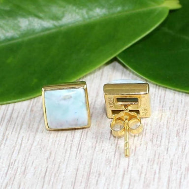 Dominican Larimar Gold Plated Earrings - Earrings