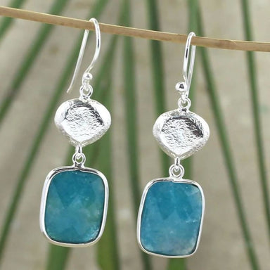 Drop Earring with Natural Blue Aventurine Gemstone in Sterling Silver - Earrings