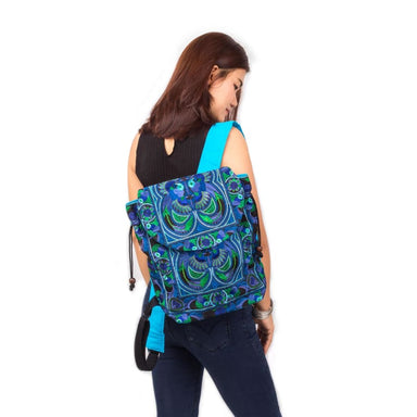 Embroidered Blue Hmong Backpack in Fabric - Backpacks