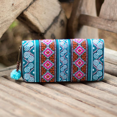 Embroidered Blue Hmong Wallet in Fabric - Wallets