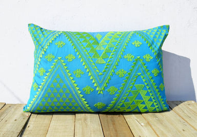 Embroidered Blue Pillow Cover in Polytafetta - Cushions & Pillows