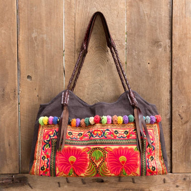 Embroidered Brown Hmong Shoulder Bag in Fabric - Shoulder Bags