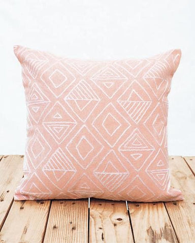Embroidered Cotton Pillow Cover in Pink - Cushions & Pillows