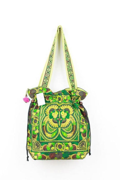 Embroidered Green Hmong Tote Bag in Fabric - Tote Bags