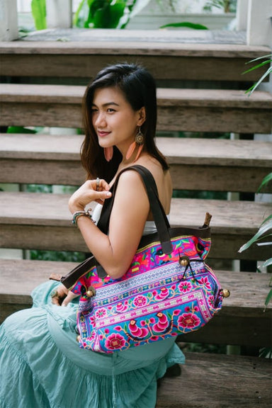 Embroidered Hmong Multicolored Shoulder Bag in Fabric - Shoulder Bags