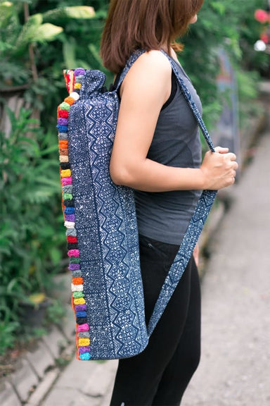 Embroidered Hmong Yogabag in Blue Batik - Yoga Bags